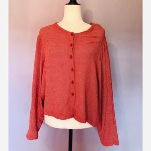 Eileen Fisher vintage red checkered blouse